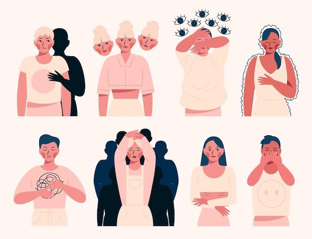 정신 건강 문제가 있는 유기적인 평평한 사람들