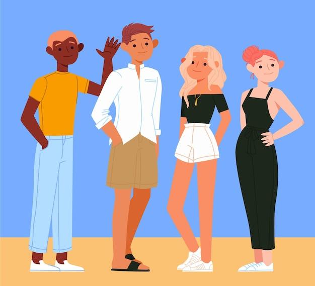 여름 옷 컬렉션 유기 평면 사람들