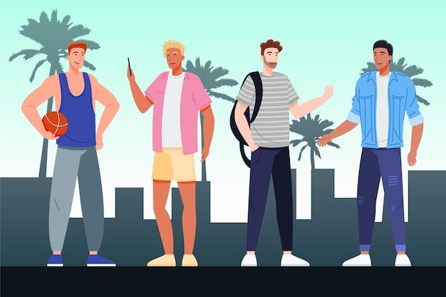 Органические плоские люди с летней одеждой