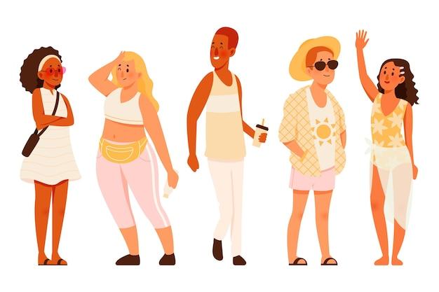 여름 옷 팩을 가진 유기 편평한 사람들