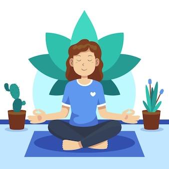 Persona piatta organica meditando nella posizione del loto