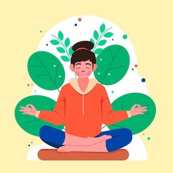 平和的に瞑想する有機フラットな人