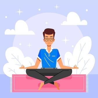 瞑想する有機フラットな人