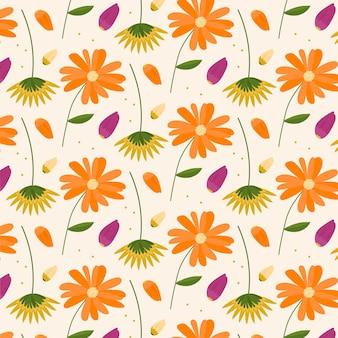 유기 평면 눌러 진 꽃 패턴