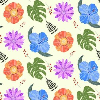 Organic flat pressed flowers pattern