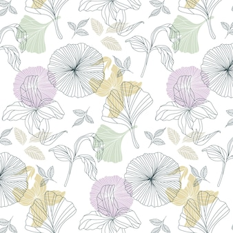 Organic flat pressed flowers pattern
