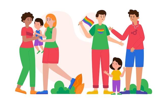유기농 플랫 프라이드 데이 가족 컬렉션