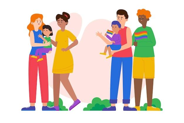 Органическая плоская семейная коллекция на день гордости