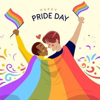 Органическая плоская иллюстрация дня гордости