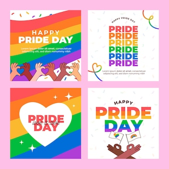 Organic flat pride day instagram posts collection