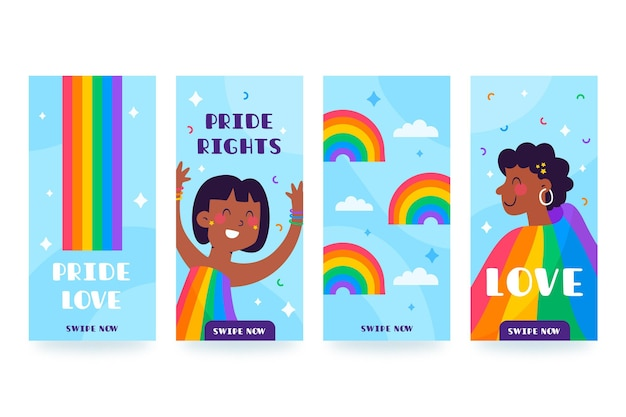 Organic flat pride day instagram stories collection