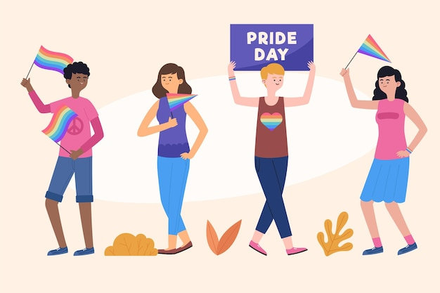 Organic flat pride day people collection
