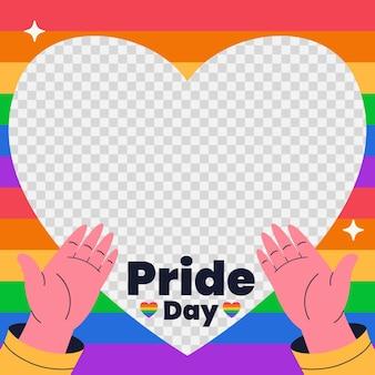 Organic flat pride day social media frame template