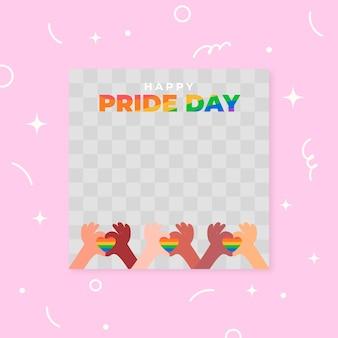 Органический плоский шаблон рамки дня гордости в социальных сетях