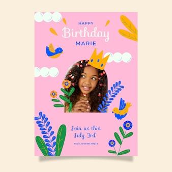 Органический плоский шаблон приглашения на день рождения принцессы