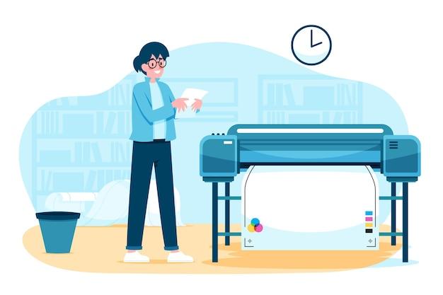 유기 평면 인쇄 산업 삽화