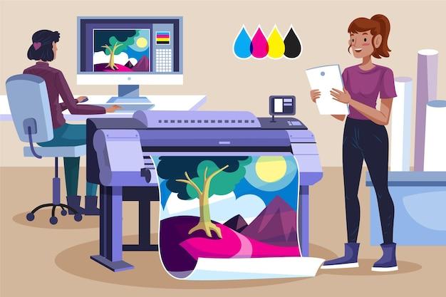 유기 평면 인쇄 산업 그림