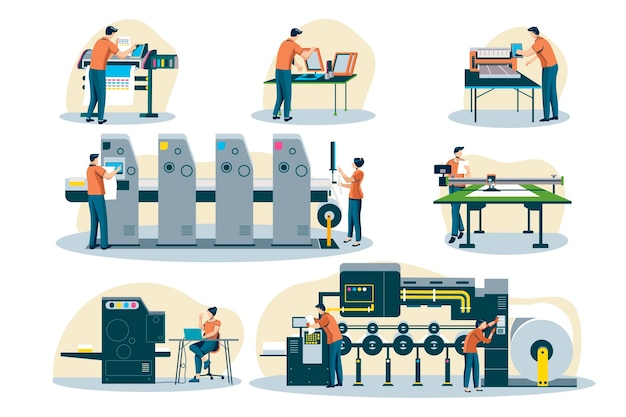 Organic flat printing industry illustration