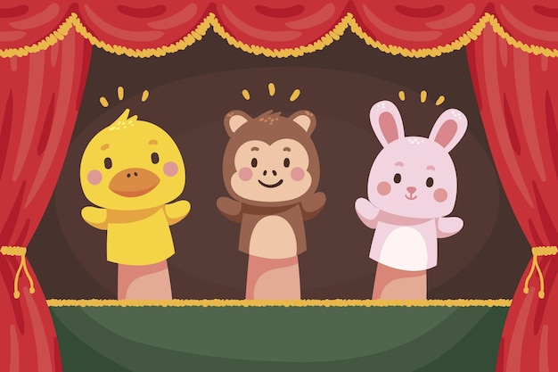 Organic flat puppet show background illustrated