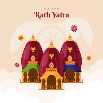 Organic flat rath yatra illustration