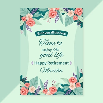 Organic flat retirement greeting card template illustrated