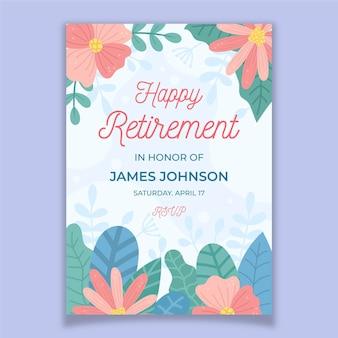 Organic flat retirement greeting card template