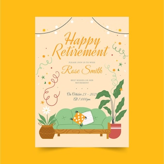 Organic flat retirement greeting card template