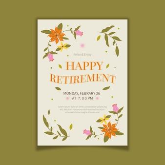 Органический плоский шаблон поздравительной открытки на пенсию