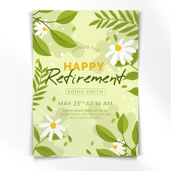 Modello di biglietto di auguri di pensionamento piatto organico