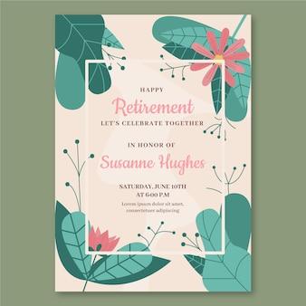 Органическая плоская поздравительная открытка на пенсию