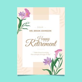 Cartolina d'auguri di pensionamento piatto organico