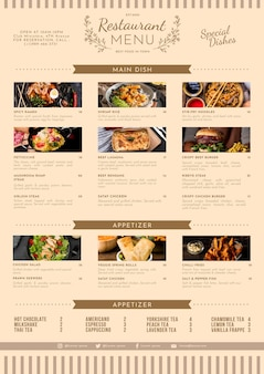 Органический плоский деревенский шаблон меню ресторана с фото