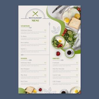Organic flat rustic restaurant menu template with photo