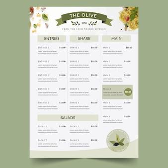 Modello di menu ristorante rustico piatto biologico con foto
