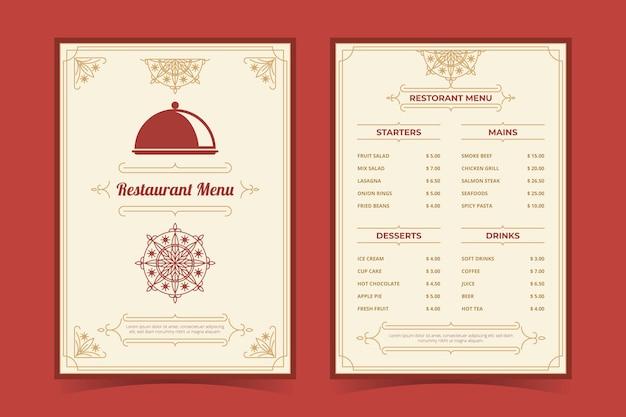 Organic flat rustic restaurant menu template