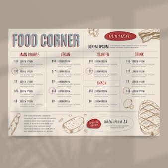 Modello di menu ristorante rustico piatto biologico