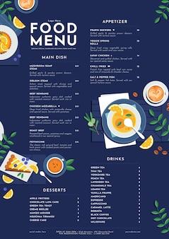 Органический плоский деревенский шаблон меню ресторана