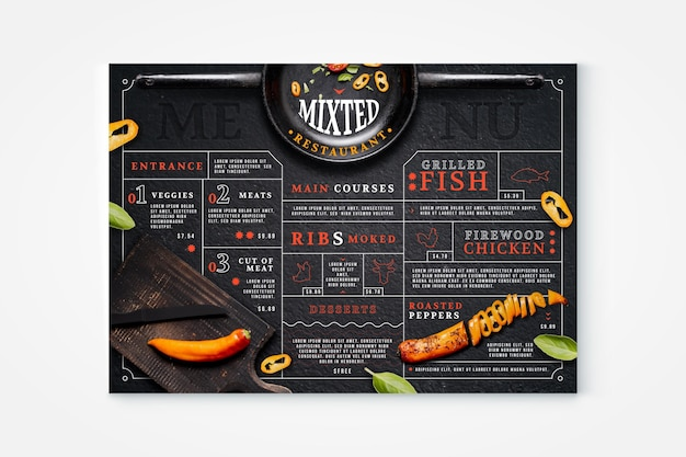Organic flat rustic restaurant menu with photo