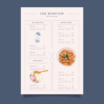 유기농 플랫 소박한 레스토랑 메뉴