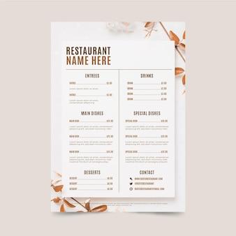 Органическое плоское деревенское меню ресторана