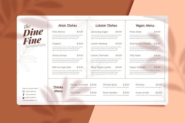 Organic flat rustic restaurant menu