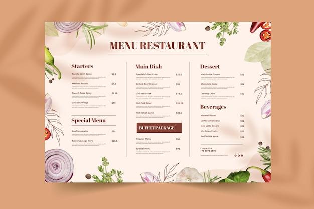Menu ristorante rustico piatto biologico