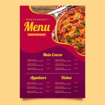 Modello di menu verticale ristorante rustico piatto biologico con foto