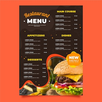 Organic flat rustic restaurant vertical menu template with photo