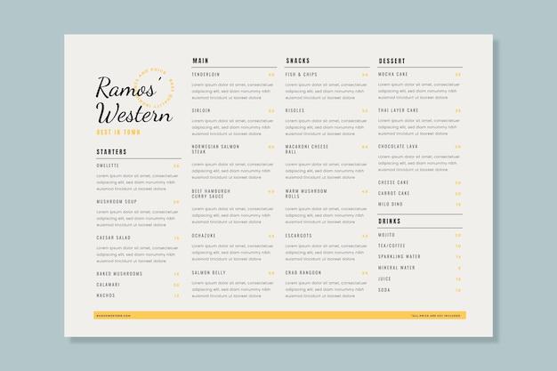 Organic flat rustic restaurant vertical menu template