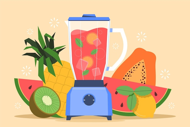 Frullati piatti organici nell'illustrazione di vetro del frullatore