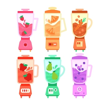 Organic flat smoothies in blender glass illustration