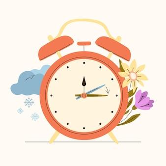 Органическая плоская иллюстрация изменения времени весны с часами и цветами