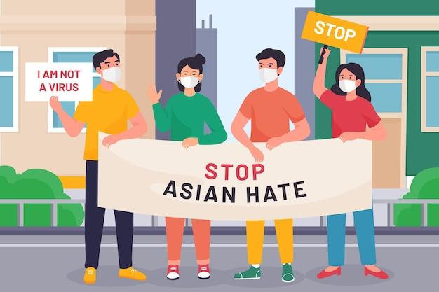 Organic flat stop asian hate illustration
