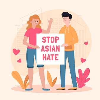 Organic flat stop asian hate illustration